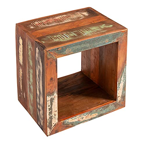 riess-ambiente.de Massiver Beistelltisch Jakarta 45cm bunt Cube aus recyceltem Holz Regal Tisch Sofatisch Tisch Holztisch Holzregal