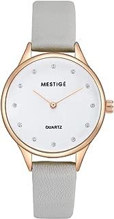 MESTIGE Womens Quartz Watch, Analog Display and Leather Strap MSWA3183