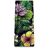 PLOKIJ Esterilla de yoga clásica de 4 mm con impresión de ejercicio y fitness para todo tipo de yoga, pilates y ejercicios de piso, hojas tropicales de palma, flor de loto 80 x 183 x 0,8 cm