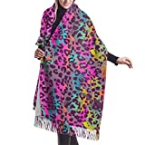 JJsister Bufandas de Mujer,Bufanda Chales para Mujer, Colorful Animal Leopard Print Womens Print Winter Warm Thick Soft Oversize Cashmere Scarf Shawls