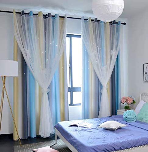Yancorp Room Darkening Light Blocking Gray Blue Curtains White Sheer Lace Detachable Bow Ties Kids Room Decor Ombre Drapes Star Double Layer Window Panels Bedroom Living Room (Gray Blue, W52 X L63)