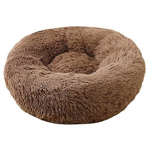 Decdeal Haustierbett für Katzen und Hunde Rundes Plüsch Hundebett Katzenbett in Doughnut-Form Farbe und Größe Optional (Durchmesser 70cm, braun)