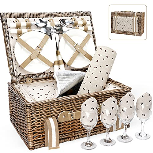 Willow Picnic Basket Set for 4 Persons with Large Insulated Cooler Bag and Waterproof Picnic Blanket,Wicker Picnic Hamper for Camping,Outdoor,Valentine Day,Chirtmas,Thanks Giving,Birthday.