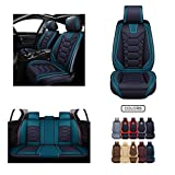 Leather Car Seat Covers, Faux Leatherette Automotive Vehicle Cushion Cover for Cars SUV Pick-up Truck Universal Fit Set for Auto Interior Accessories (OS-004 Full Set, Black&Blue) -  Oasis Auto