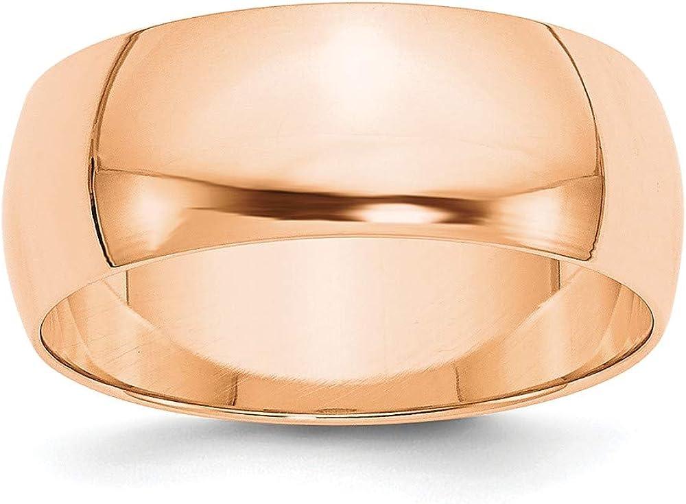 10k Rose Gold 8mm Men's Plain Classic Dome Wedding Band Ring