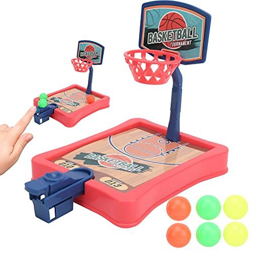 Juguete de interacción Entre Padres e Hijos, Mini Juego de Baloncesto de Escritorio portátil para Regalo del día de Navidad(Red)