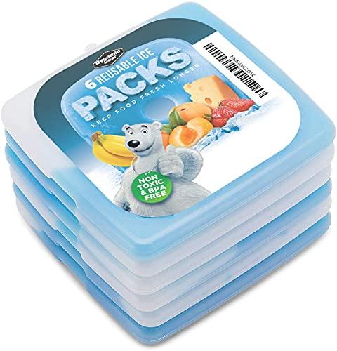 Dynamic Gear Acumulador de frío, paquete de 6 plana freeze refrigeración placa bloques de congelador de hielo finos y ligeros para neveras, fiambreras y camping