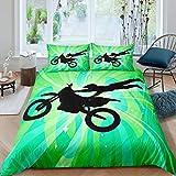 Loussiesd Juego de funda de edredón de motocross para moto de cross, juego de ropa de cama con 2 fundas de almohada, diseño de rayas, color verde y negro