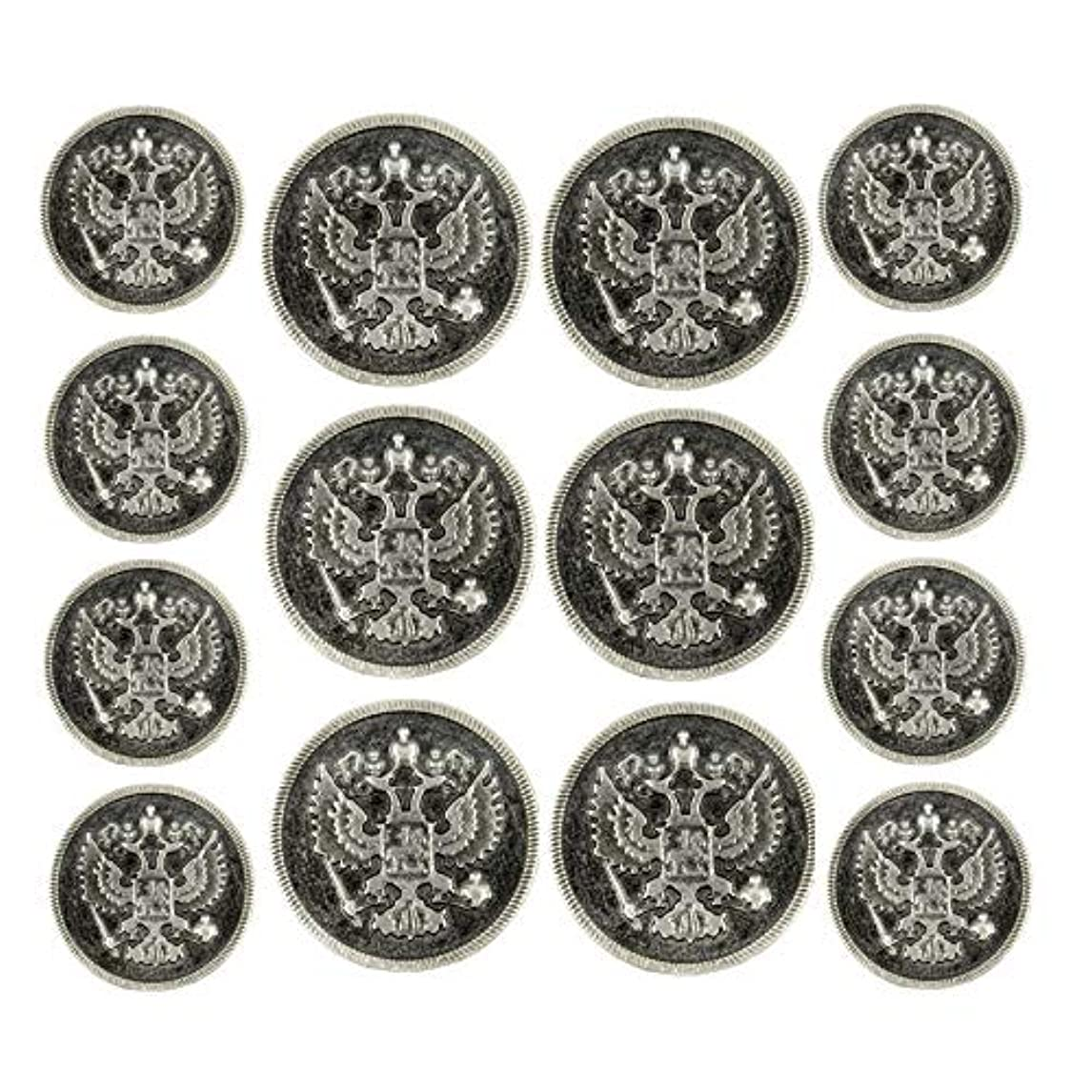 Bezelry Two-Headed Eagle Gray Silver Metal Shank Double Blazer Button Set. 6 Pcs of 23mm, 8 Pcs of 18mm eorcs95659053583