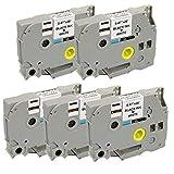 5 x TZe231 (12mm x 8m) Nero su Bianco Nastro laminato compatibile per Brother P-Touch PT-1000 PT-1000P PT-1000BTS PT-1005 PT-1010 PT-1090 PT-2030VP PT-2430PC PT-3600 PT-9600 PT-D200 PT-D200VP PT-D200BW PT-D210 PT-D210VP PT-D400 PT-D400VP PT-D450VP PT-D600VP PT-E100 PT-E100VP PT-E300VP PT-E550WVP PT-H100LB PT-H100R PT-H101C PT-H101GB PT-H101TB PT-H105 PT-H110 PT-H300 PT-H500 PT-H500LI PT-P700 PT-P750W GL-H100 Etichettatrici