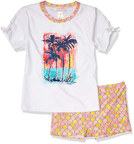 Tommy Bahama Mädchen 2-Piece Rashguard and Swim Bottoms Set Rash Guard Hemd, Weiß/Palmen, 3 Jahre