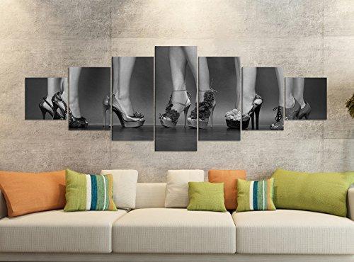 Leinwandbilder 7 Tlg 280x100cm schwarz Schuh Sexy Schuhe Frau high Heels Kleid Beine Leinwand Bild...