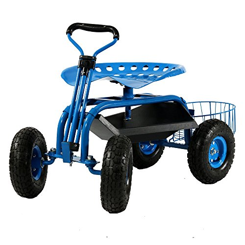 Sunnydaze Garden Cart Rolling Scooter with...