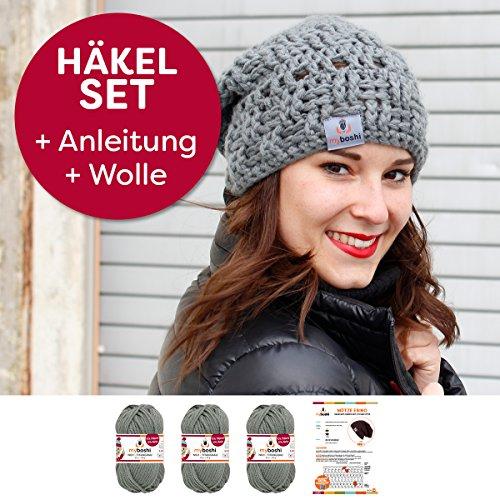 myboshi Häkel-Set Mütze Ebino | aus No.1 | Anleitung + Wolle | mit passender Häkelnadel | Titangrau