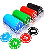 Lynkaye Plastic Poker Chips 100 Poker Chip Set with Storage Box,Denomination Printed Casino Style Chip for Texas Home Game Nights,Holdem Poker Nights,Blackjack or Roulette Games,Casino Parties
