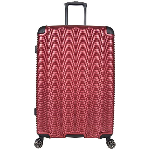 Kenneth Cole Reaction Wave Rush 28' Lightweight Hardside 8-Wheel Spinner Expandable Checked Suitcase, Warm Red