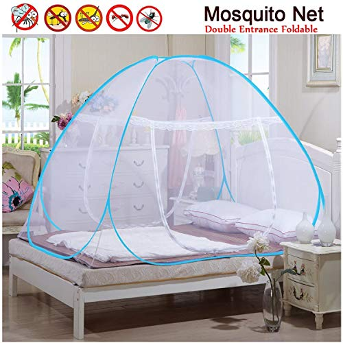 Muggennet eenvoudig inklapbaar, pop-up-tent, installatie zonder aansluiting, netdeur met 2 zijdelingse openingen ter bescherming van je familie en je gezin tegen ongewenste muggen en andere insecten.