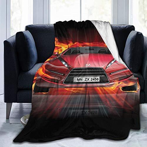 Manta mullida, vista frontal de un coche de incendios, llamas calientes sobre fondo abstracto, diseo concepto, ultra suave, manta para dormitorio, cama, TV, manta para cama de 127 x 101 cm