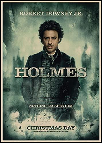 Weibing Sherlock Holmes Posters Película Lienzo Pintura Bar Cafe Shop Hogar Dormitorio Decoración y colección de Ventiladores 50X70 Cm (19.68X27.55 in) Q-1107