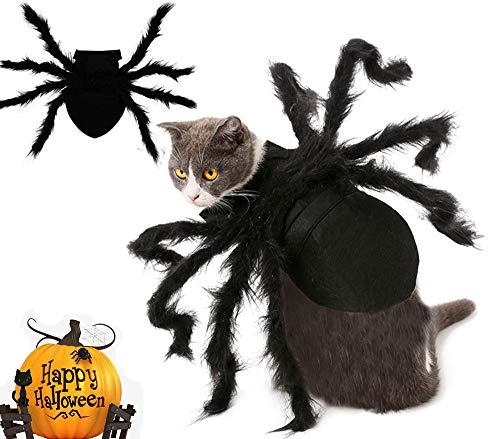 BAINA Halloween Haustier Plüsch Simulation Spinne für Hund Katze Halloween-Party, Haustier-Kleidung, Karneval, warm, Cosplay, Anzüge für Katzen mit Verstellbarer Neck Paste Schnalle