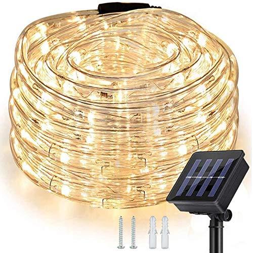 Nurkoo Solar Lichterschlauch 10m 100er LED Lichter mit 8 Modi Innen und Außen Lichterkette Lauflichter für Saal, Garten, Weihnachten, Hochzeit, Party, Terrasse - Warmweiß