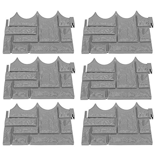 ABD Lawn Edging Plant Border, Gray Stone Brick Flower Bed and Garden Fence, Used for DIY Home Garden Decoration (12 Pcs)