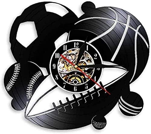 yltian Deportes Bola Registro Vinilo Reloj de Pared combinación decoración del hogar fútbol Baloncesto Golf Golf béisbol Deportes de Pelota