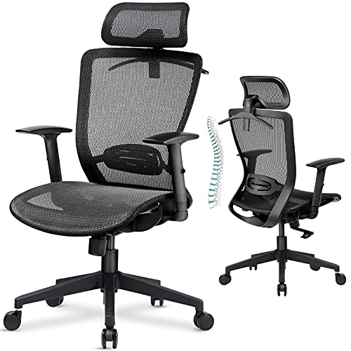 ComHoma Ergonomic Office Chair, Executive Mesh Desk Chair with Adjustable Arm Rests and Lumbar Support - High Back with Breathable Mesh Seat Cushion - Adjustable Head & Reclines Grey