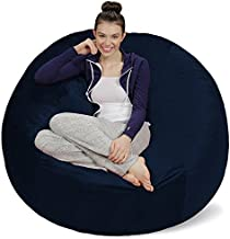 Sofa Sack - Plush Ultra Soft Bean Bags Chairs for Kids, Teens, Adults - Memory Foam Beanless Bag Chair with Microsuede Cover - Foam Filled Furniture for Dorm Room - Navy 5'