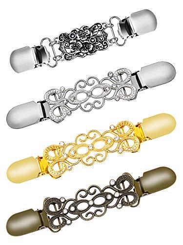 Ruisita 4 Pieces Retro Cardigan Clip Sweater Collar Clip Shawl Clips Dresses Shawl Clip for Women Girls (Color 1)