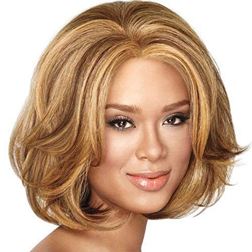 Fleurapance Blonde Korte Rechte Haar Pruik Hittebestendige Goede Kwaliteit Natuurlijke look Golvend