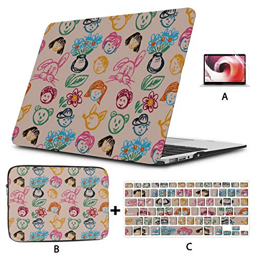 Macbook Protector Creative Cute Cartoon Draw Character Macbook Pro Protective Case Hard Shell Mac Air 11'/13' Pro 13'/15'/16' With Notebook Sleeve Bag For Macbook 2008-2020 Version