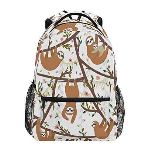 Ombra Mochila linda animal perezoso rama flor escuela hombro bolsa grande impermeable durable librero portátil mochila mochila para estudiantes niños adolescentes niñas niños primaria