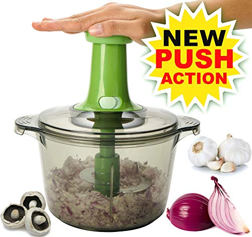 Brieftons Express Food Chopper: Large 8.5-Cup, Quick & Powerful Manual Hand Held Chopper to Chop & Cut Fruits, Vegetables, Herbs, Onions for Salsa, Salad, Pesto, Hummus, Guacamole, Coleslaw, Puree