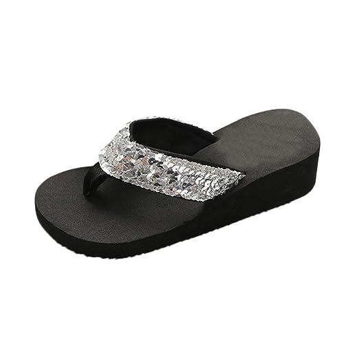 73d6b03aa8d HARRYSTORE Women s Summer Wedges Flip-Flops Sequins Anti-Slip Sandals  Slipper Wide Fit Shoes
