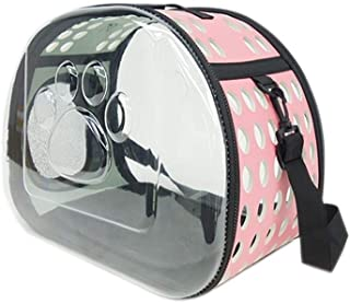 MAOSHE Transparent Pet Carrier Waterproof Puppy Travel Bag Breathable Space Capsule Backpack for Cat Dog (Color : Pink)