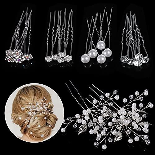 Horquillas Pelo Mujer de Novia, Taumie 23 Piezas Horquillas para el pelo de boda, Perlas de Diamantes Horquillas, Pinzas para el Cabello en Forma de U para la Boda y Fiesta