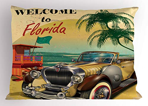 """Ambesonne Florida Pillow Sham, Old Beach Picture with Vintage American Car a Visit to Touristic Coastal State, Decorative Standard Queen Size Printed Pillowcase, 30"""" X 20"""", Beige Green"""