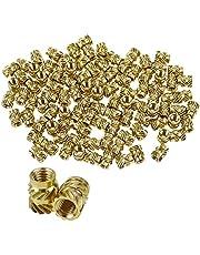 NewZC 100 STKS Schroefdraad Inserts M3 Gekartelde Moer Messing Pers Fit Moer Schroefdraad Inserts voor Metalen Plastic Hout 3D Printing Vrouwelijke Draad Kit