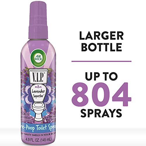 Air Wick V.I.P. Pre-Poop Toilet Spray, Up to 268 uses, Contains Essential Oils, Lavender Superstar Scent, 4.9 oz., Holiday Gifts, White Elephant gifts, Stocking Stuffers