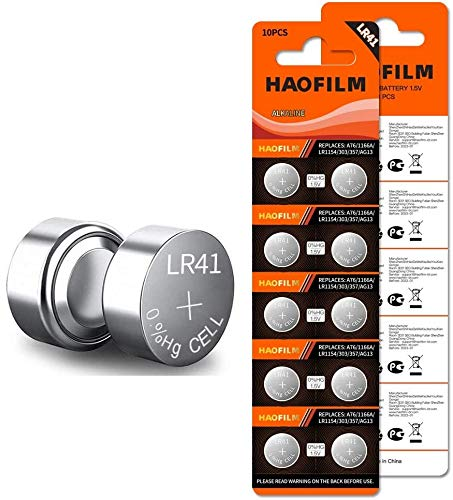 HAOFILM LR41 AG3 392 384 192 Premium Alkaline Battery,1.5V Round Button Coin Cell Batteries (10 Pack)