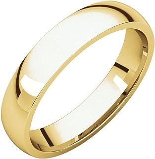 مجوهرات إف بي 10 قيراط ذهب أصفر 4 مم خفيف الراحة صالح للرجال خاتم الزفاف الفرقة الحجم 14