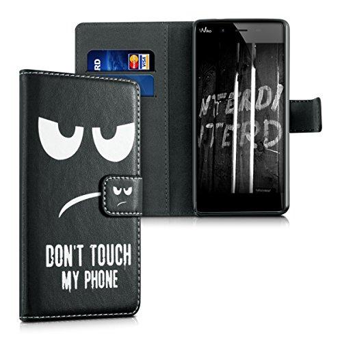 kwmobile Wallet Hülle kompatibel mit Wiko Tommy - Hülle Kunstleder mit Kartenfächern Stand Don't Touch My Phone Weiß Schwarz