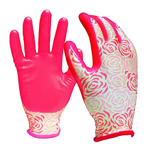Digz Stretch Knit Garden Gloves with Nitrile Coating | Latex-Free Rubber Gardening Gloves | Color: Rose Pattern | Size: Small
