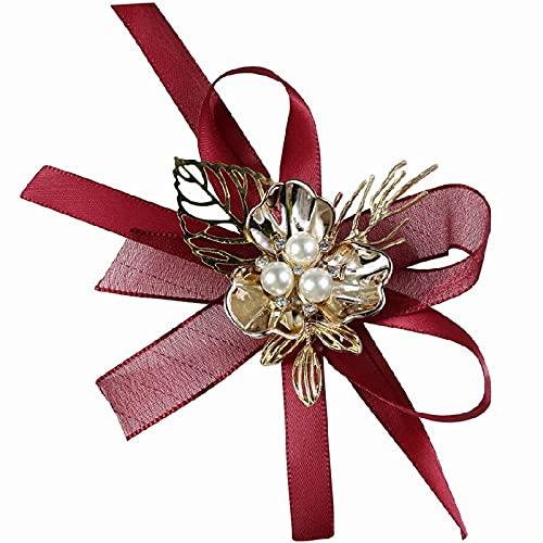 XiaoYing Accesorios de boda boda boda novia dama de honor muñeca ramillete novia mano flor pulsera (color: rojo, tamaño: M)