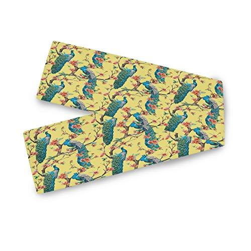 TropicalLife F17 - Camino de mesa rectangular con diseño de pavo real (33 x 177 cm), diseño de flores de pavo real