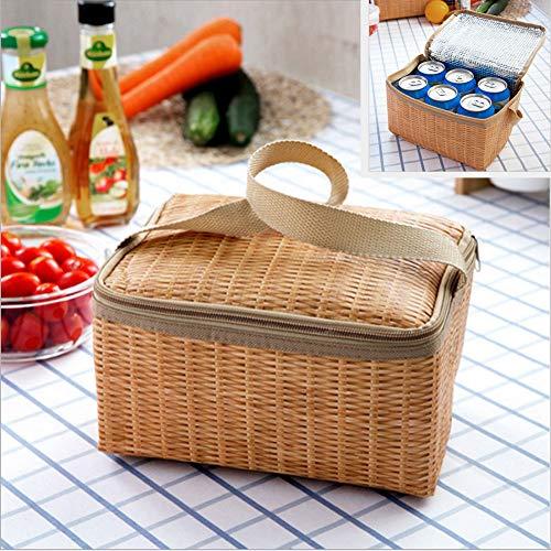 hammock Imitation Rattan tragbare Wärmedämmung Tasche Lunch Bag Carry Koffer Koffer Picknick japanischen Stil