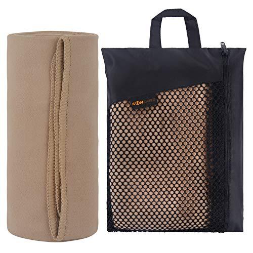 sunland Asciugamano in Microfibra Ultra Compatto e Molto Leggera Telo da Palestra, Sportive, Viaggio o Campeggio 100cmx180cm Sabbia