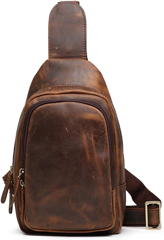 LiShihuan Herren Brusttasche Reißverschluss Leder Diagonal Diagonal Diagonal Tasche Schultertasche Retro (Farbe   Dark braun) B07L95XD52 32919b