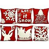 UMIKU 6PCS Christmas Pillow Covers 18x18 Christmas Decorations Pillows Covers Christmas Decorative Throw Pillows Cases Sofa Indoor Home Décor